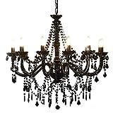 vidaXL Lampadario con Perle di Cristallo Rotondo 12 Lampadine E14 Elegante Lampada da Soffitto Luce Interni Nero Trasparente in Metallo e Acrilico