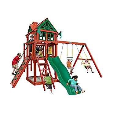 Gorilla Playsets Five Star II Wooden Swing Set with Monkey Bars, Rock Climbing Wall, and 2 Swings