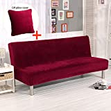 Armless Sofa Cover with Throw Pillow, Thicker Plush Strentch Sofa Slipcover Non-Slip Protector