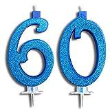 Party & Co. Velas para tarta de 60 años para fiesta de cumpleaños, felicitaciones, ideal para hombre y mujer, 12 cm, azul con purpurina