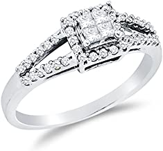 Sonia Jewels 14K White Gold Princess Cut & Round Diamond Halo Circle Engagement Ring - Invisible Set Square Princess Center Setting Shape with Channel Set Side Stones (1/3 cttw.)