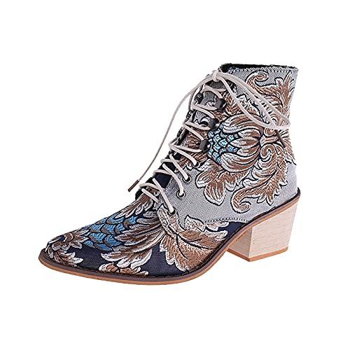 CYGGA Botines de caña corta para mujer, botines de tacón grueso, con punta, vintage, con bordados, con cordones, sexy, con plataforma, de encaje, botines, azul celeste, 37