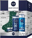 NIVEA MEN Smart X Stylish Geschenkset, Pflegeset mit Pflegeshampoo, Pflegedusche, Feuchtigkeitscreme...