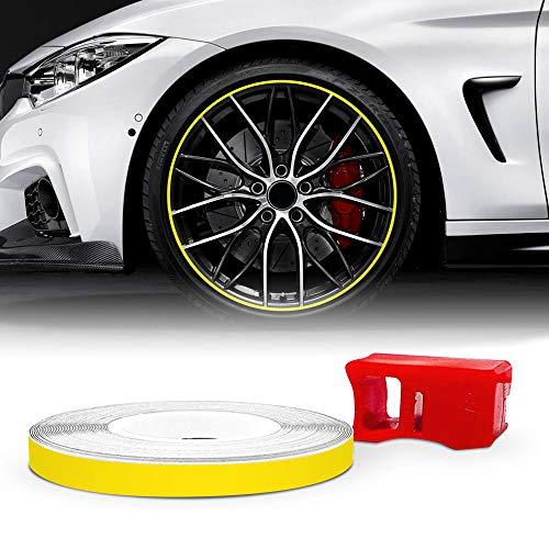 4R Quattroerre.it 10362 Wheel Trim Strisce Adesive con Applicatore per Cerchi Moto, Giallo Racing