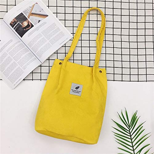 REBKW Bolso de pana sólida para mujer, bolso de la compra, bolso cruzado para mujer, bolso casual (amarillo, China)