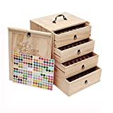 Essential Oil Bottles Storage for 192 Bottles Holds 5 10 15 20 30ml Travel Box For Young Living & Doterra bottles - Essential Oil Box Natural Wood(Update Version)