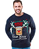 NOROZE Men's Christmas Jumper Novelty Fair Isle Sweater Chunky Knit Xmas Jumpers for Women Unisex Pullover (M, Rein Beer Navy/Black)