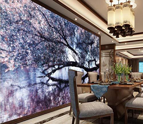 Carta Parati 3D Soggiorno Camera Da Letto Tv Sfondo Carta Da Parati Rotolo Formato 3D Primavera Ciliegio Giapponese Carta Da Parati Murale 3D 300 * 210Cm