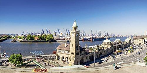 Artland Qualitätsbilder I Wandtattoo Wandsticker Wandaufkleber 60 x 30 cm Städte Deutschland Hamburg Foto Natur C0FN Hamburg St Pauli Landungsbrücken