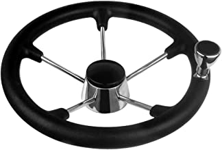 Hoffen Destroyer Style Stainless Steel Steering Wheel 13-1/2 Inch with Black Foam Grip and Knob