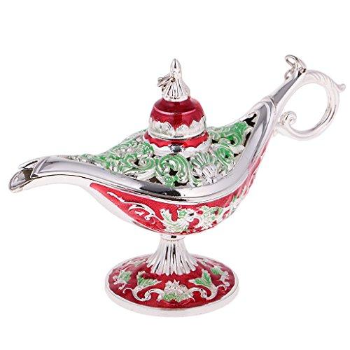 freneci Retro Flor Hueca Lámpara de Aladino Soporte de Joyería de Cuentas Lámpara de Aceite Leyenda Olla de Deseos - Rojo