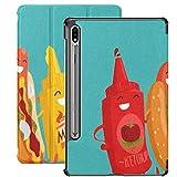Funda Galaxy Tablet S7 Plus de 12,4 Pulgadas 2020 con Soporte para bolígrafo S, Hot Dog Ketchup Mostaza Personajes Vector Funda Protectora Delgada con Soporte para Samsung