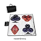Diamond Decor Picnic Blanket with Tote,Diamond Shaped Cards Poker Face Fortune Symbols Sapphire Dijital Prints Foldable & Waterproof Camping Mat for Outdoor Beach Hiking Grass Travel,Dark Blue Red