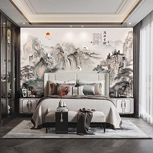 TV Hintergrund Tapete Papiertapete Tinte Landschaft Chinesische Malerei Wohnzimmer atmosphärisches Wandbild-123 * 87