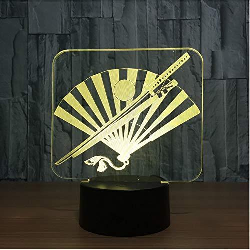 Optische Täuschungslampe Japan Messer und Lüfter 3d Lampe Sieben Farbwechsel Nachtlampen Touch-Schalter