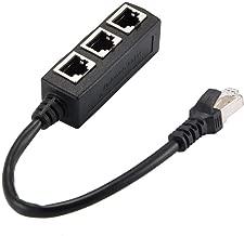 PHILED Splitter RJ45, RJ45 1 Macho a 3 Puertos Hembra Splitter Ethernet Cable de extensión Adaptador de Enchufe Compatible con Cat6 Extensor de Red Enchufe Cable LAN