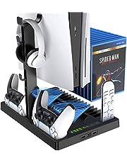 Support vertical refroidissant pour console PS5 avec double port pour manette, compatible avec la console PlayStation 5 et l'édition numérique