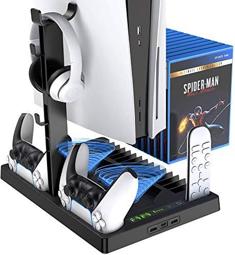 Soporte Vertical de refrigeración para la Consola PS5 con Dos Puertos para el Mando, Compatible con la Consola Playstation 5 y la edición Digital