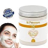 Maschera esfoliante viso 250ml con acido ialuronico. Argilla purificante bianca naturale per pelli...
