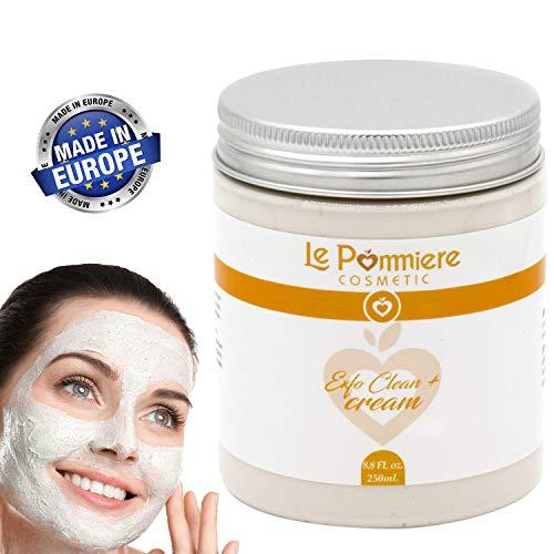 Peeling Gesichtsmaske 250ml mit Hyaluronsäure.  Reinigung von natürlichem weißem Ton für fettige oder Mischhaut.  Mann Frau.  Reduziert Mitesser, Pickel, offene Poren und Akne-Pickel