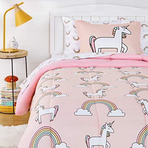 Amazon Basics Kids EasyWash Microfiber BedinaBag Bedding Set  Twin Unicorns amp Rainbows