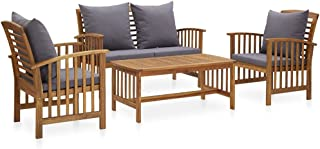 vidaXL Solid Acacia Wood Garden Lounge Set with Cushions 4 Piece Wooden Outdoor Patio Bench Chair Table Seating Seat Sitti...