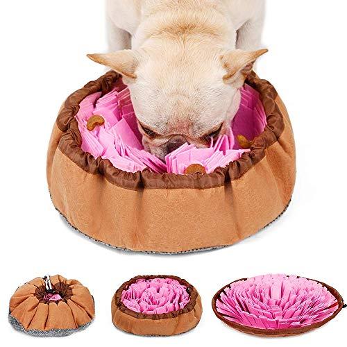 LIVACAAS Schnüffelteppich Hunde Schnüffelrasen Waschbar Faltbar Riechen Trainieren Matte Schadstofffrei Schnüffeldecke Schnüffelspielzeug Anti Schling Napf Fördert Natürliche Nahrungssuche Rosa