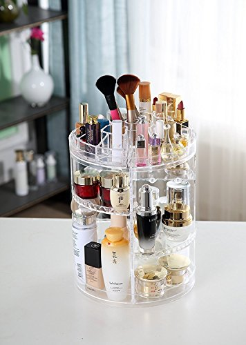 Beauty Shopping Makeup Organizer, 360 Degree Rotating Adjustable Cosmetic Storage Display Case with