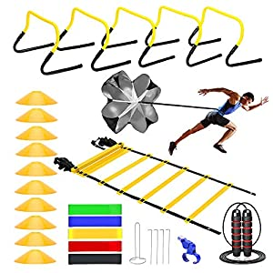KMX Speed &Agility Ladder Training Set– 5 Speed Training Hurdle,20 ft/12 Rung Agility Ladder, 10 Cones, 5 Latex-Free Resistance Bands,