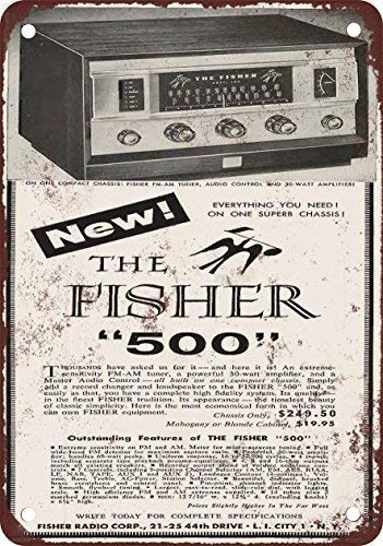 DKISEE Aluminum Safety Sign 1957 Fisher 500 Receiver Vintage Look Reproduction Durable Rust Proof Warning Sign Aluminum Metal Sign 10