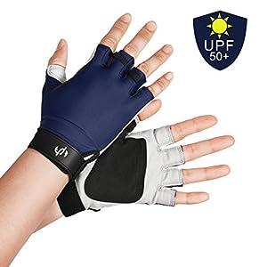 UV FISHING GLOVES SUN PROTECTION For Men & Women, Certified UPF50+, Half Finger Glove Kayaking, Paddling, Sailing, Driving, Golfing, Fingerless, FREE Of Chemicals, Machine Washable, XL to XS