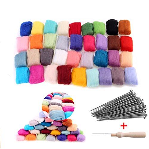 36 Colores de lana Merino Roving de Fibra + 60pcs Agujas Fieltro con Mango para Feltear Hilado a Mano