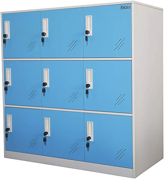 Office And School Locker Organizer Metal Storage Locker Cabinet For Workers Students And Home Blue