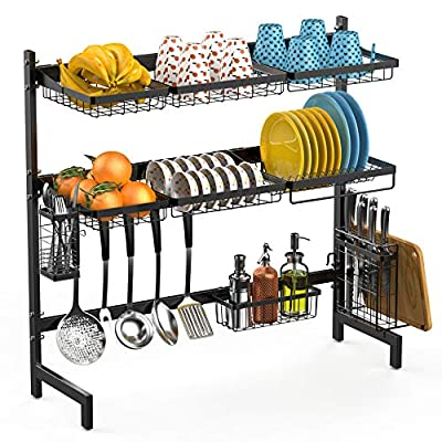 Over the Sink Dish Drying Rack, Veckle 2 Tier Stainless Steel Large Dish Rack Utensil Cutting Board Holder Dish Drainer Kitchen Counter Storage Rack, Sink Size ? 32 inch, Black from Veckle