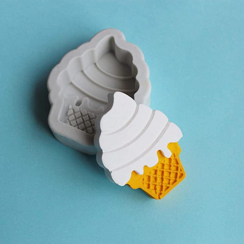 AT27clekca Cake Mold Baking Accessories Ice Cream Cone Silicone Mold Fondant Cake Chocolate Clay Decorating Baking Tool Gray White