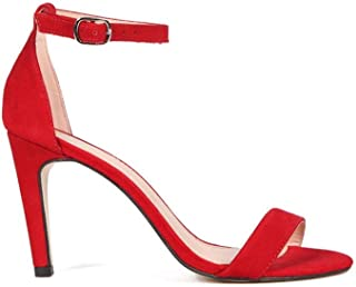 Sandália em Nobuck Salto Alto Vermelho