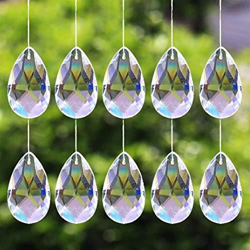 Mrjg Kristallkugel 10Pcs Tear Drop 28mm freie Glaskristallprisma Anhänger Kronleuchter Schmuck Suncatcher Spacer Faceted glaskugel