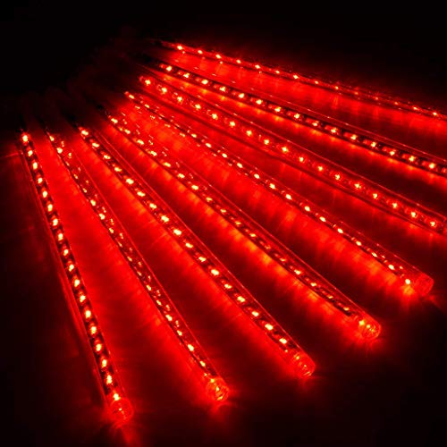 CLL Luce Da Pioggia LED Meteor 50Cm - Luci Da Pioggia Meteorica A 10 Tubi Luci Da Pioggia Per Feste - Decorazioni Per Alberi Di Natale Per Feste Di Matrimonio - Rosse
