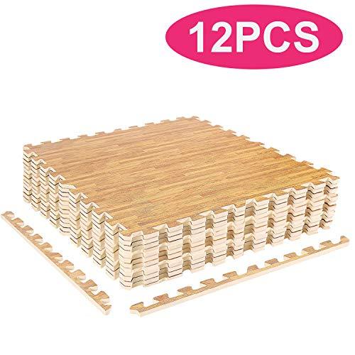 YOLEO Puzzlematte Kinderspielteppich Spielmatte Spielteppich Schaumstoffmatte Kinderteppich Schutzmatten Bodenschutzmatten Unterlegmatten Fitnessmatte (Leichte Holzmaserung 60x60cm 12 Stücke)