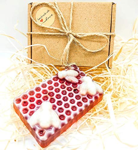 Handgemachte Honigseife BIO Naturseife, besonders reichhaltige Seife, ohne Palmöl, Seife Feuchtigkeitsspende Honigseife mit Propolis und Traubenkernöl für alle Hauttypen Premium Qualität von Bio Land