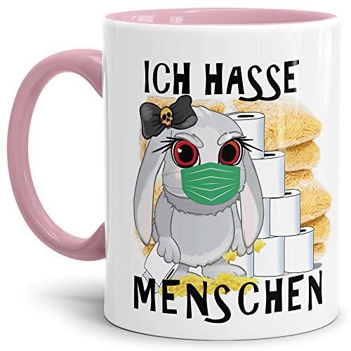 Tassendruck Anti-Hamster-Tasse mit Spruch Böses Hasi - Ich Hasse Menschen - Hamsterkäufe/Kaffee-Tasse/Virus 2020 / Geschenk-Idee/Ostern - Innen & Henkel Rosa