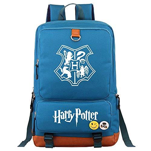 NYLY Bolsa Escolar estudiantil Hogwarts Universidad Daypacks Boys Travel Canvas Rucksack Girls Laptop Mochila Unisex Azul