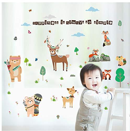 GKAWHH Cartoon Friendly Animal Stickers Muraux pour Chambre d'enfants Ours Deer Fox Forêt Animaux Home Decor pour Enfants Happy Autocollant 157 * 100 Cm