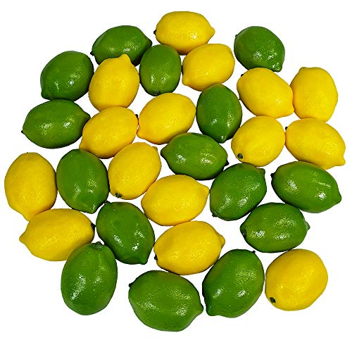 Winlyn 30 PCS Artificial Lemons and Limes, Fake Fruit Lemons Artificial Lifelike Simulation Lemon for Home House Kitchen Party Decoration