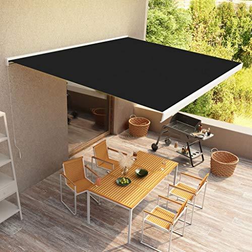 Terrasse Balkon,Handbetrieben Außenmarkise,Manuelle Kassetten-Markise 500x300 cm Anthrazit