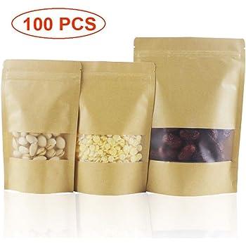 Bolsa papel Ziplock 20 piezas Paquete a prueba olores Resellable Ventana transparente Caf/é cenamiento alimentos Bocadillos Nueces Bolsas T/é Regalo para el hogar 9 14