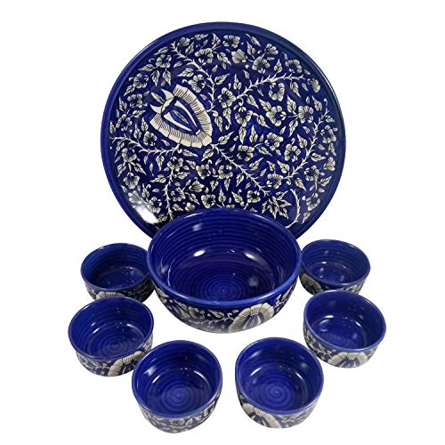 India Meets India Handicraft Ceramic Dinner Set with Platter, Bowl (Big bowl-1000ml & Small bowls-250ml), 6 small Bowls Mixing Bowls Fruit Bowl Snack Bowl, Best Gifting, Made By Awarded Indian Artisan