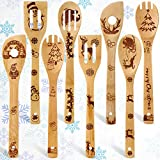 8 Pieces Christmas Utensils Wooden Burned Spoons Set Bamboo Cooking Slotted Spoons Spatula for Christmas Kitchen Decoration Wedding Present Supplies
