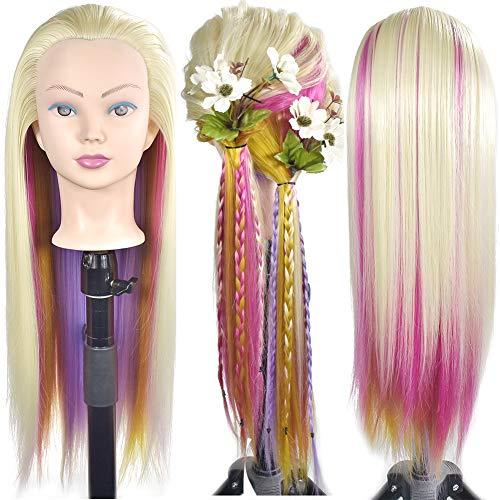 ErSiMan - Testa di manichino per capelli con testa di manichino da 66 cm, per acconciature e parrucchieri, testa di bambola con morsetto, colore: biondo-4