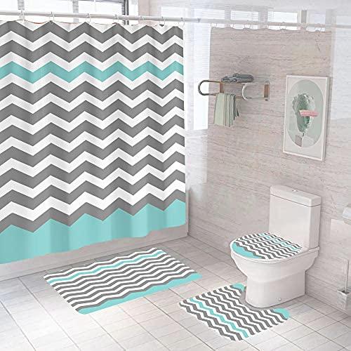 MOUPSDT 4-teiliges Duschvorhang-Set Graublaues geometrisches Wellenmuster mit rutschfesten Teppichen, Toilettendeckel & Badematte, mit 12 Haken,wasserdichter Stoff-Duschvorhang 180x200 cm